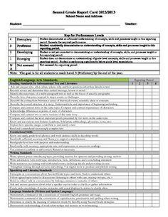 Second Grade Standards Based Report Card Template