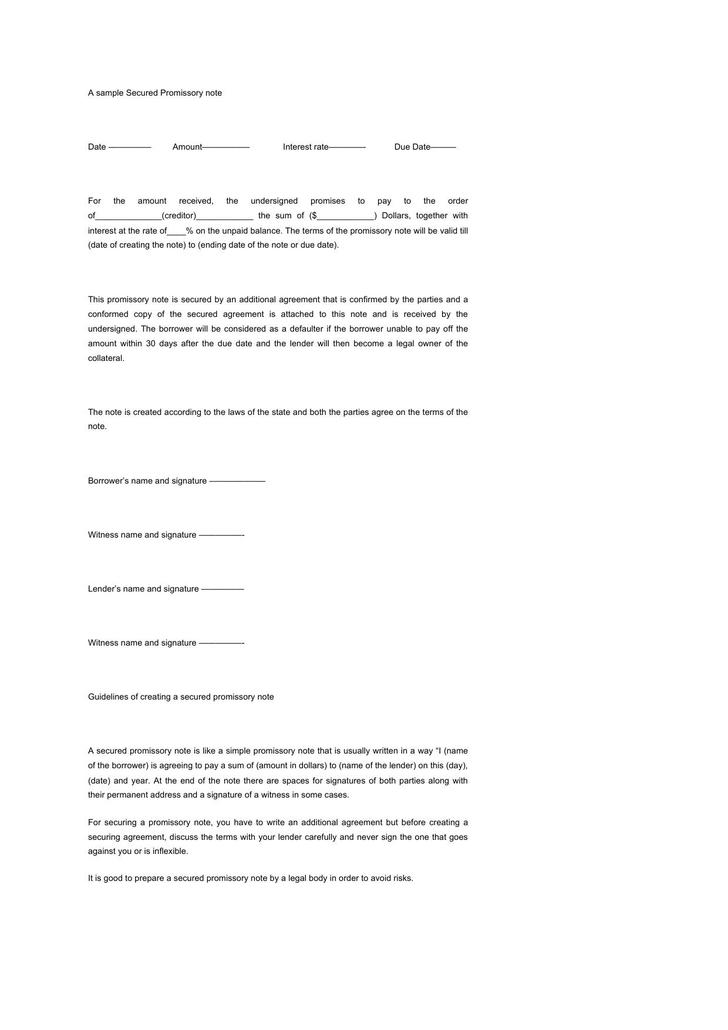 Sample Of A Promissory Letter Download Sample Promissory Note For