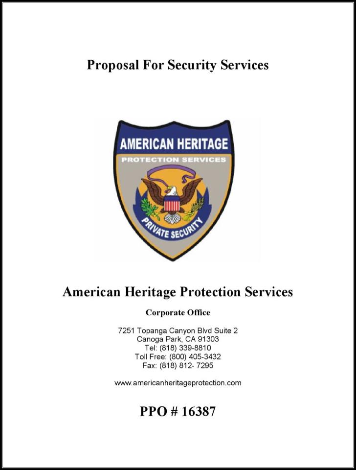 Security Service Proposal Template