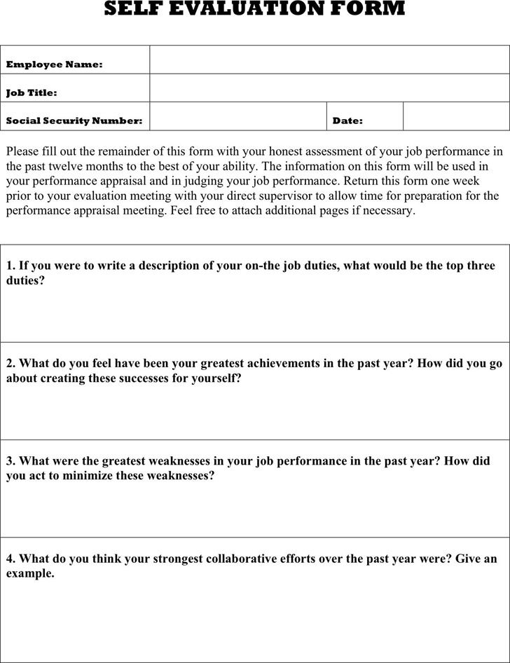 Self Evaluation Group Work Self Evaluation Form In Pdf Sample