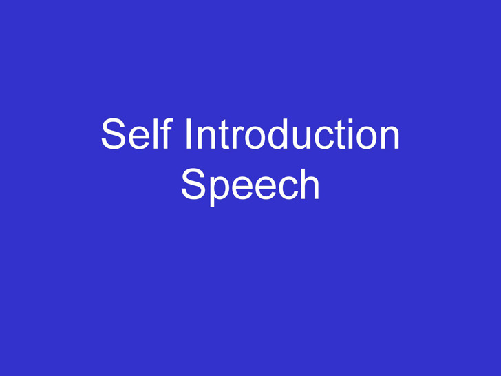 Self Introduction Speech Examples – Self Introduction Speech Examples