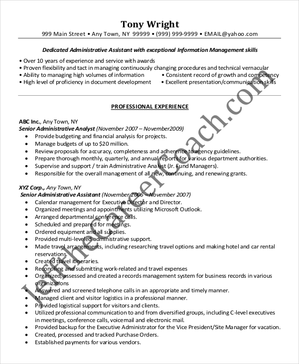 Senior Administrative Assistant Resume Example Download
