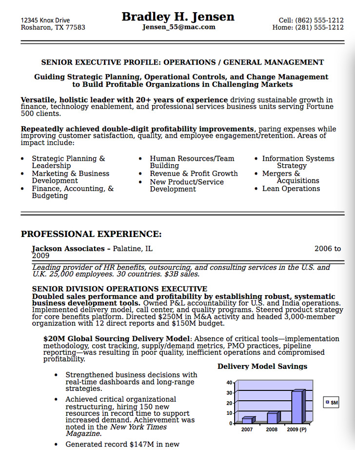 Senior Executive Resume Sample 2