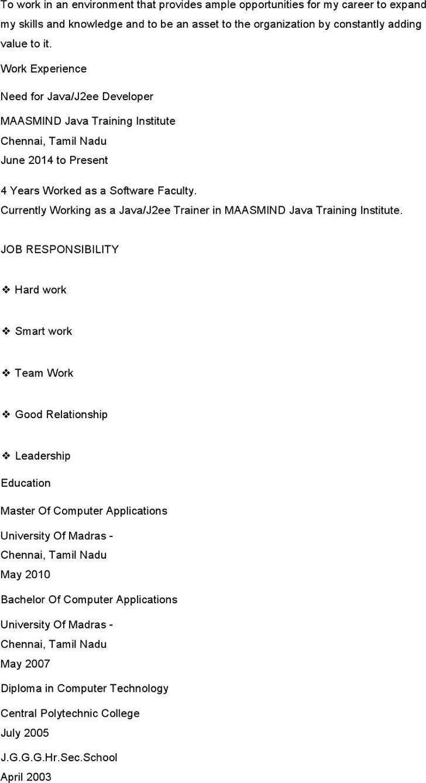 Java Developer Resume Template  Java Developer Resume