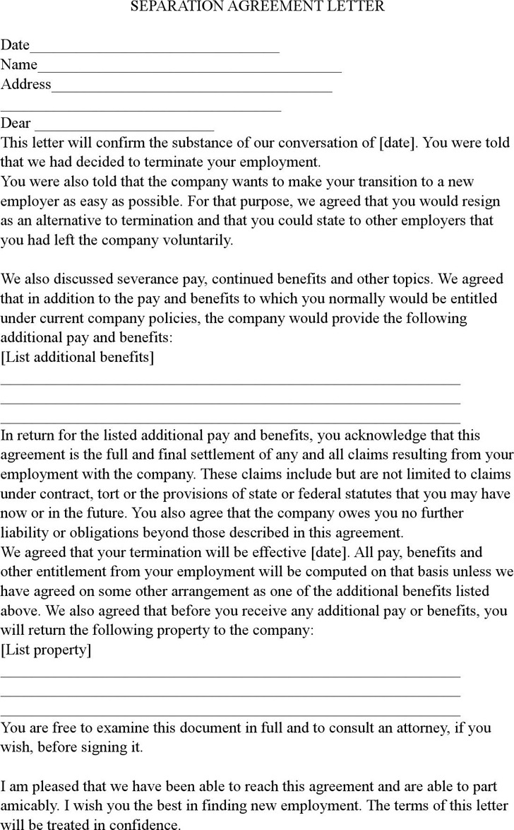Separation Agreement Letter