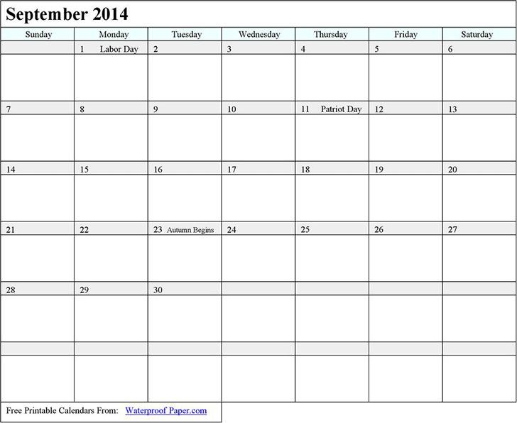 September 2014 Calendar 2