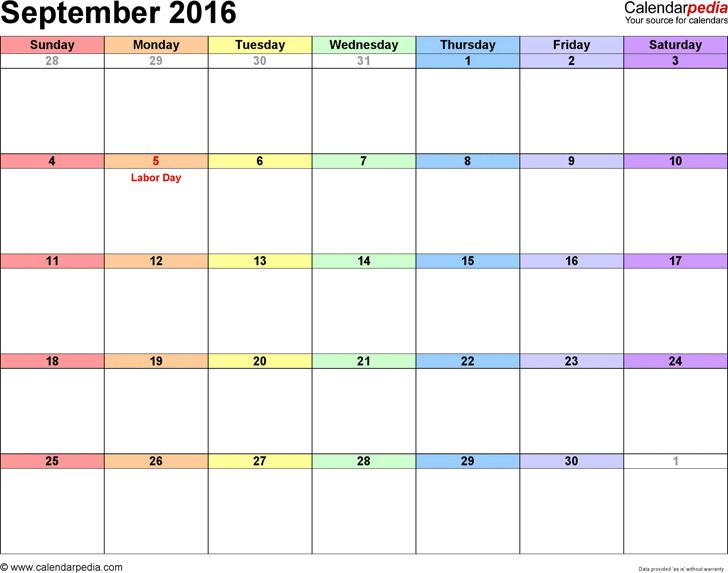 September 2016 Calendar 1