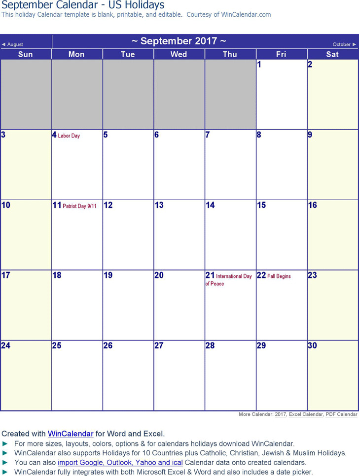 September 2017 Calendar 1