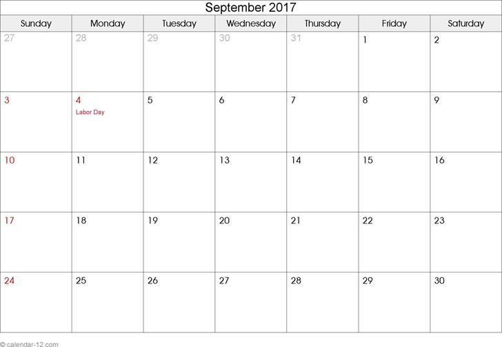September 2017 Calendar 3