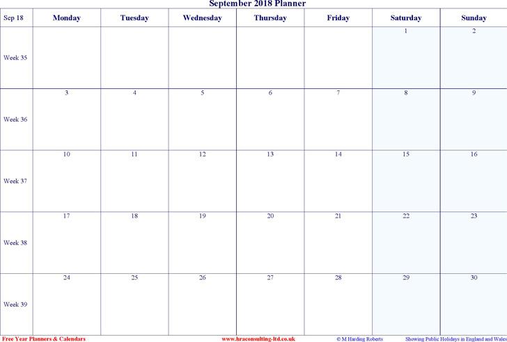 September 2018 Calendar 2