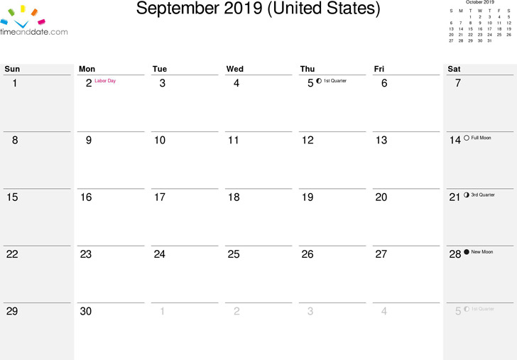 September 2019 Calendar 2