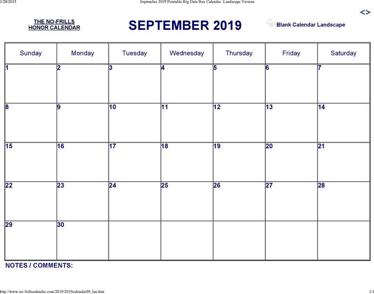 September 2019 Calendar 3