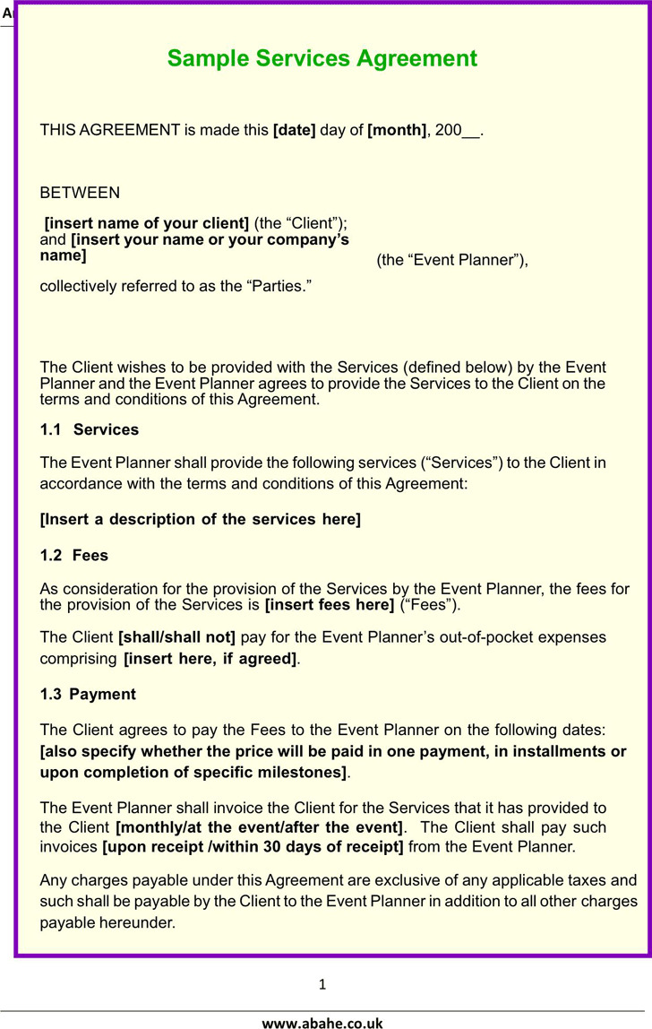 Sample Services Agreement