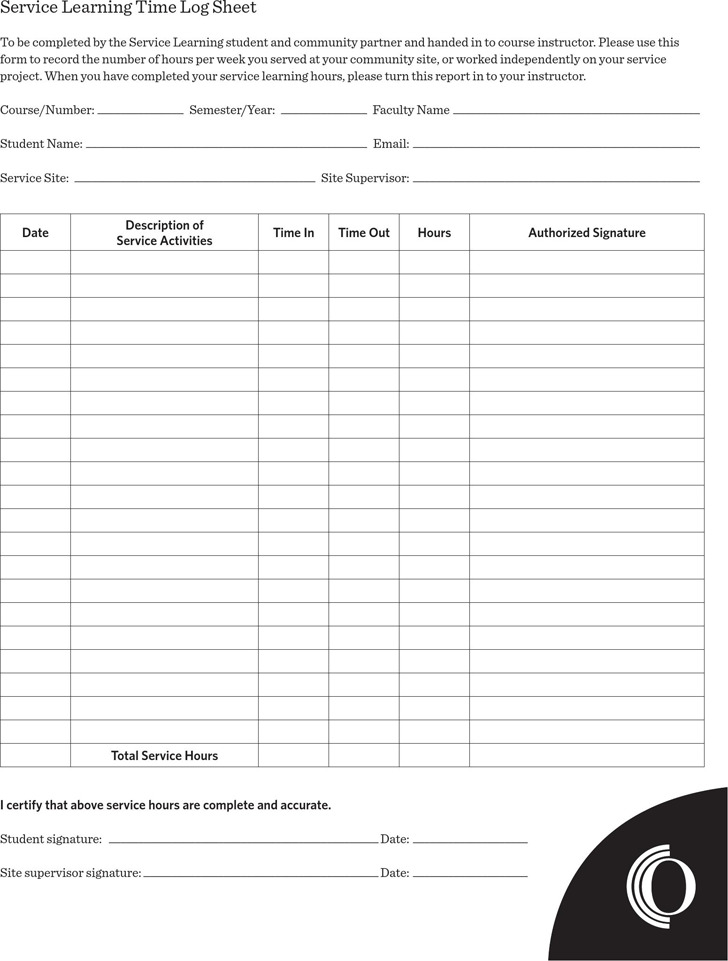 Service Learning Time log Sheet