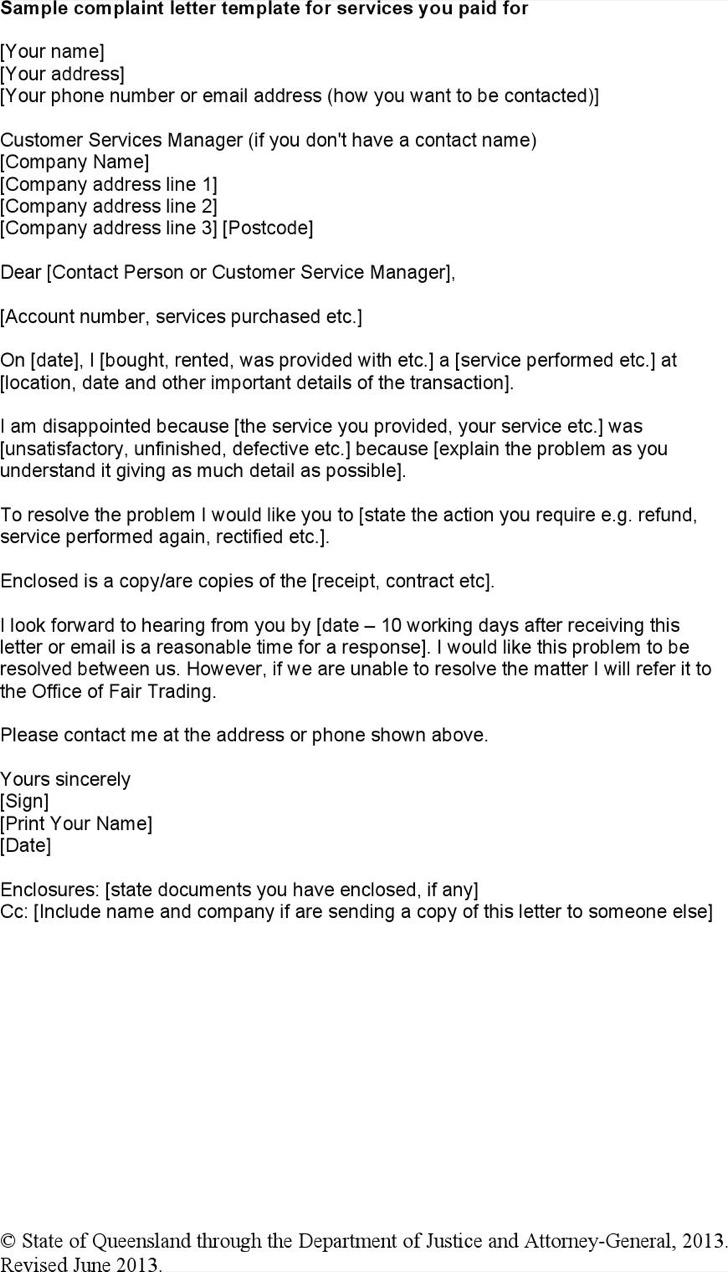 Services Complaint Letter Template Word Doc Download
