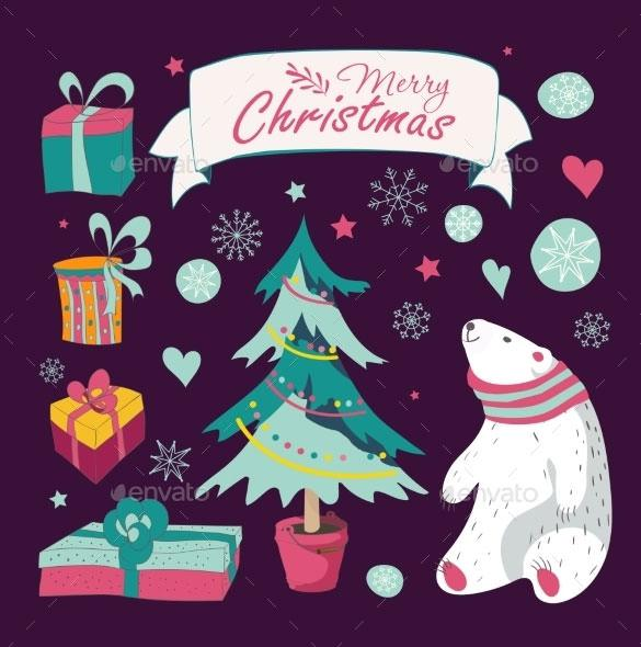 Set Of Christmas And New Year Graphic Elements EPS