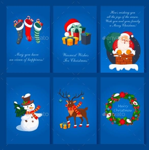 Set Of Christmas And New Year Greeting Card Template EPS Download