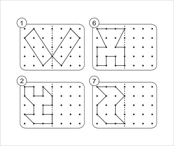 Shapes & Dotted Lines Reflective Symmetry Template