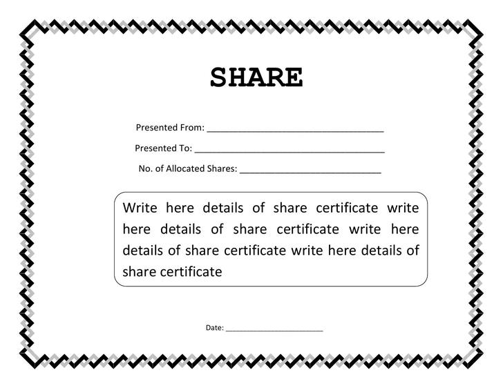 Share Certificate Template Word Format Editable Download