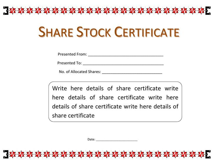 Certificate Template Ms Word. Stock-Certificate-Template-Word-Pdf