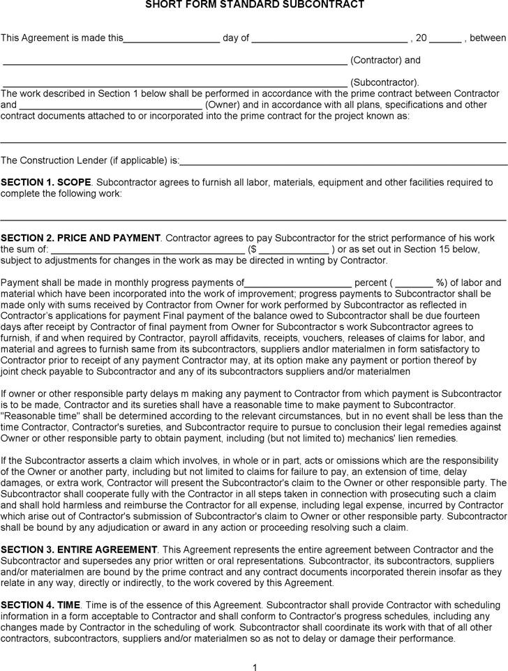 Short Form Standard Subcontract