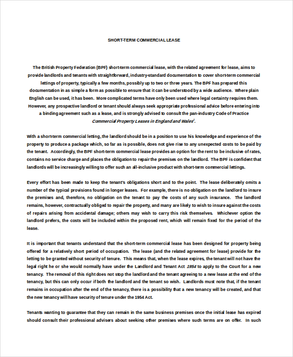 Property Rental Agreement Templates – Commercial Rental Agreement Template Free