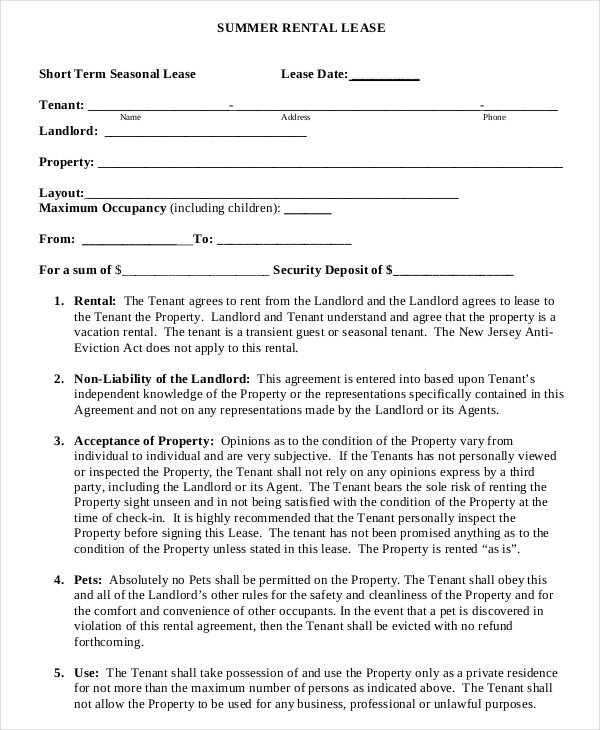 14 Short Term Rental Agreement Templates Free Download