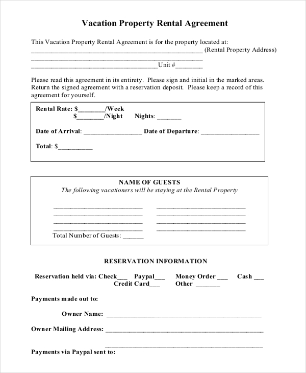Short-Term Rental Agreement Template Word