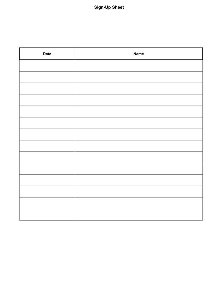 Sign Up Sheet Template Printable