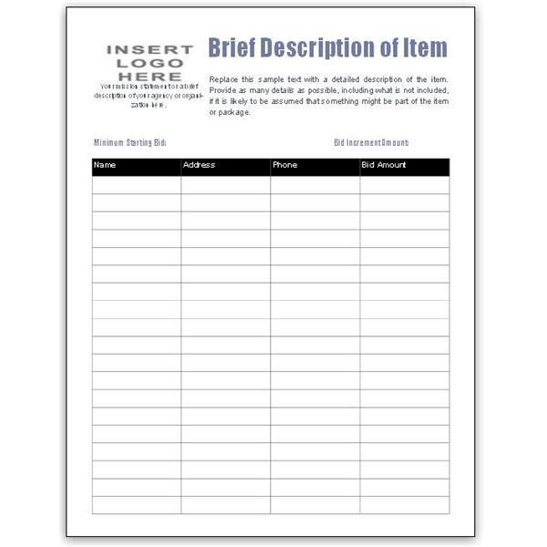 Silent Auction Bid Sheet Template Foundation