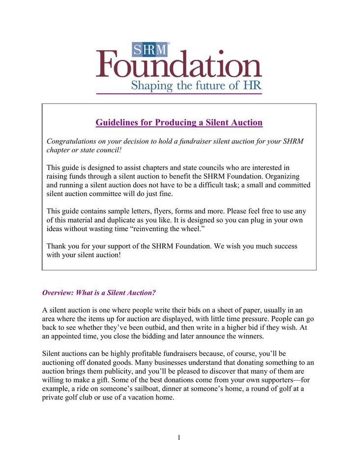 Silent Auction Guidelines PDF Template