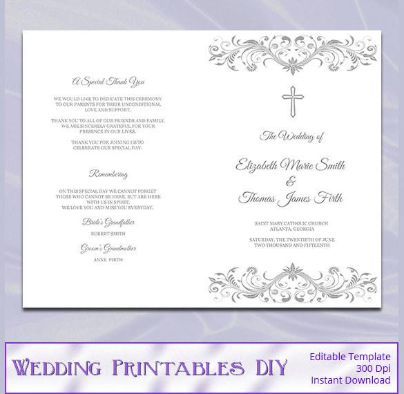 Silver Gray Catholic Wedding Program Template