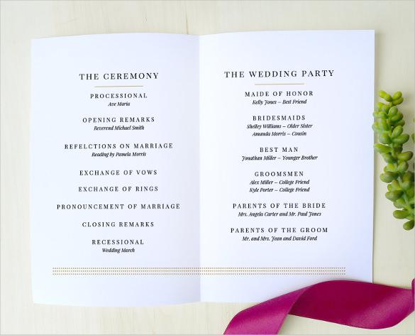 Simple & Clear Wedding Program Template Download