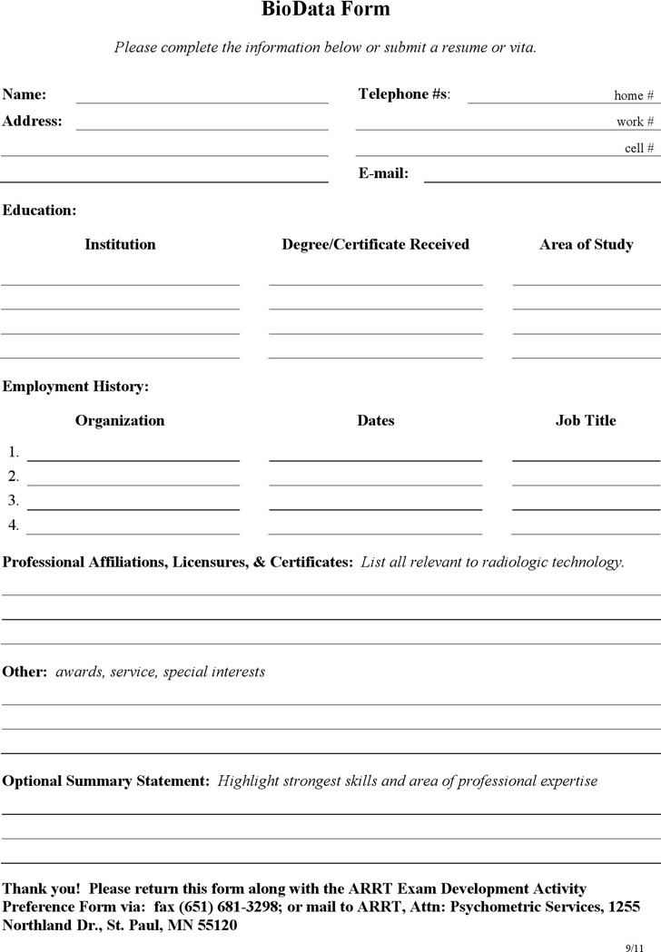 Bio Data Or Resume Format Vosvetenet – Free Download Biodata Format
