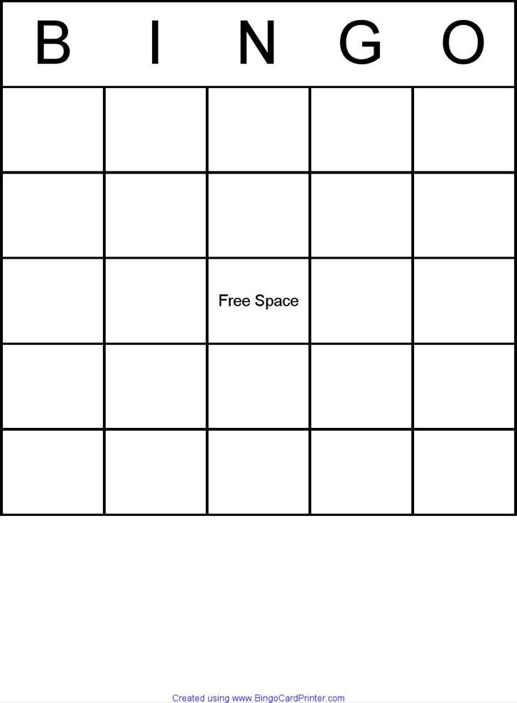 Simple Blank Bingo Board Pdf