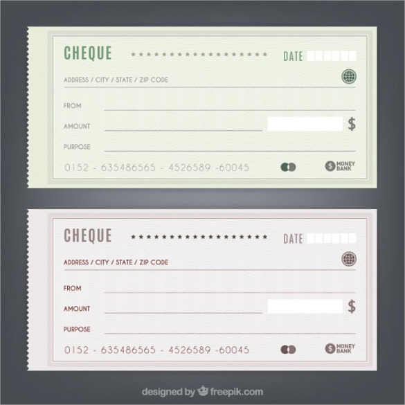 Simple Blank Cheques Free Vector