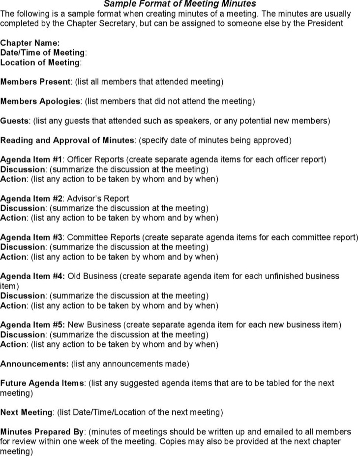 Simple Business Meeting Minutes Template