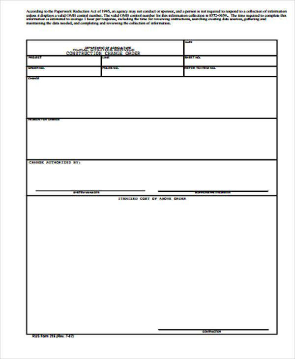 Change Order Template | Download Free & Premium Templates, Forms