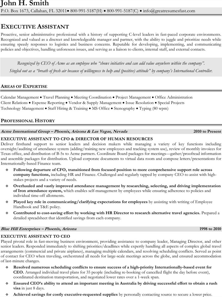Executive administrative assistant resume download free for Sample resume for executive assistant to senior executive