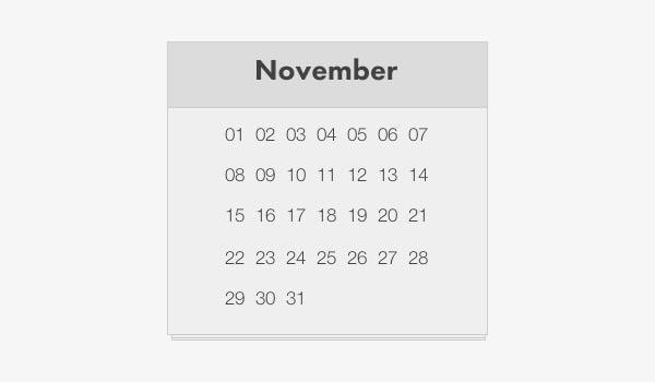 Simple HTML Calendar Template