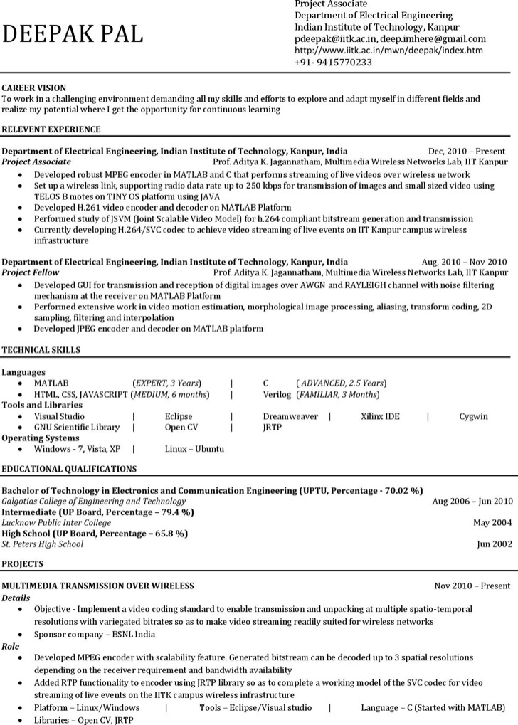 Simple Mechanical Engineering Resume For Experience