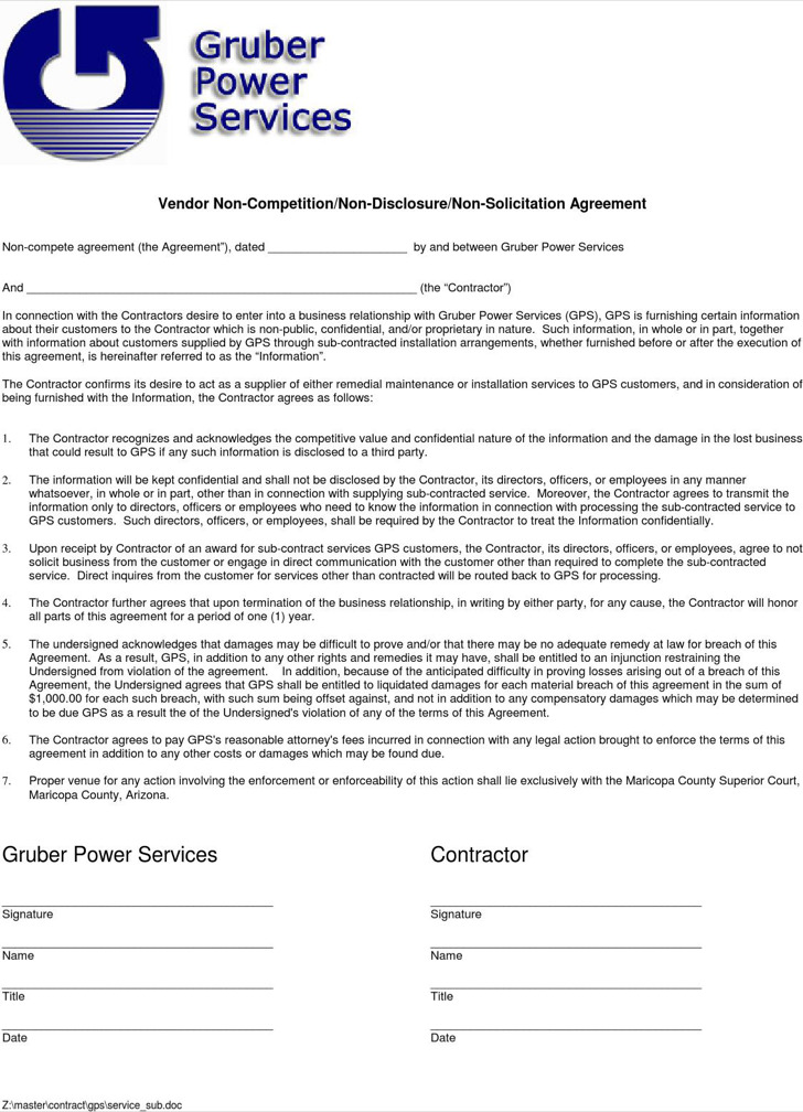 Vendor Agreement Business NonCompete Agreement Vendor Non