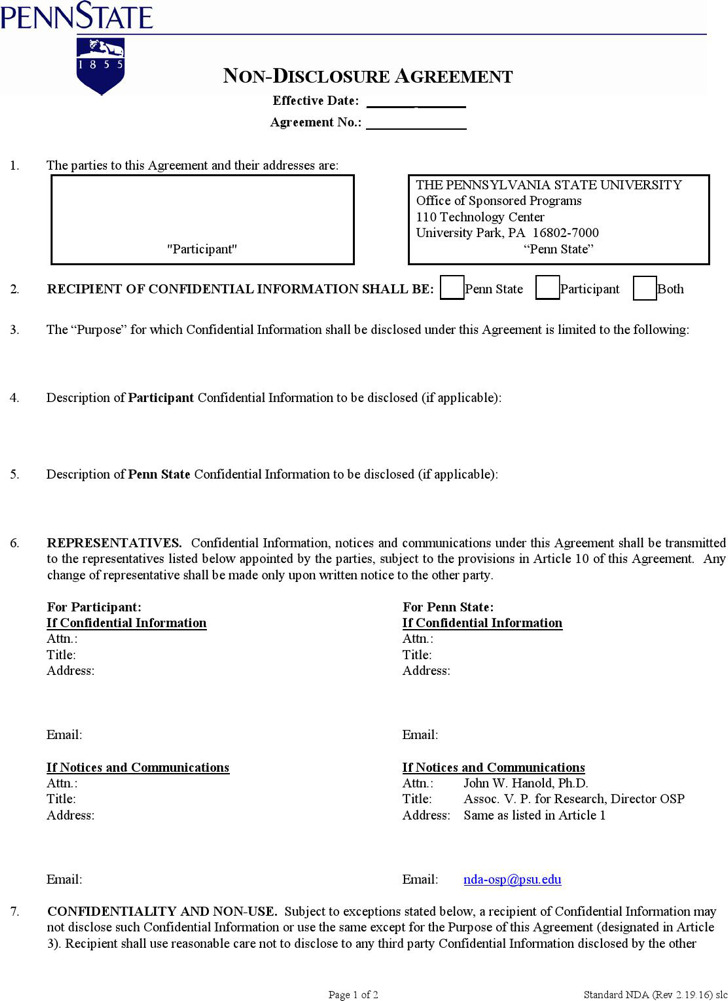 Simple Non Disclosure Agreement Form | Download Free & Premium