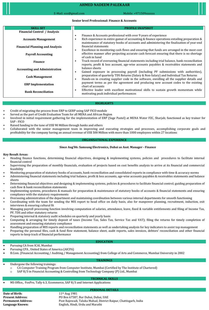 Simple Of Ca Resume Template