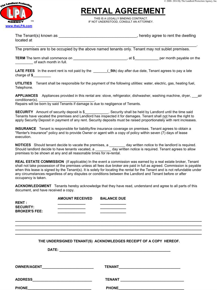 Simple Rental Agreement One Page  LondaBritishcollegeCo