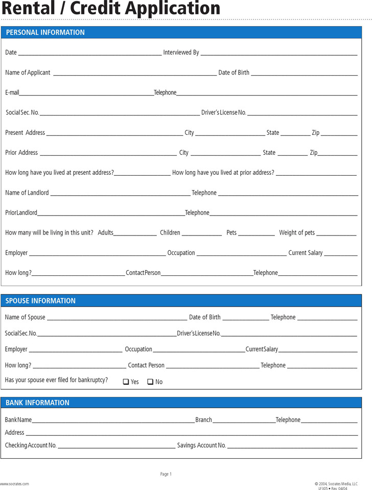 Rental Application Form  Download Free  Premium Templates Forms