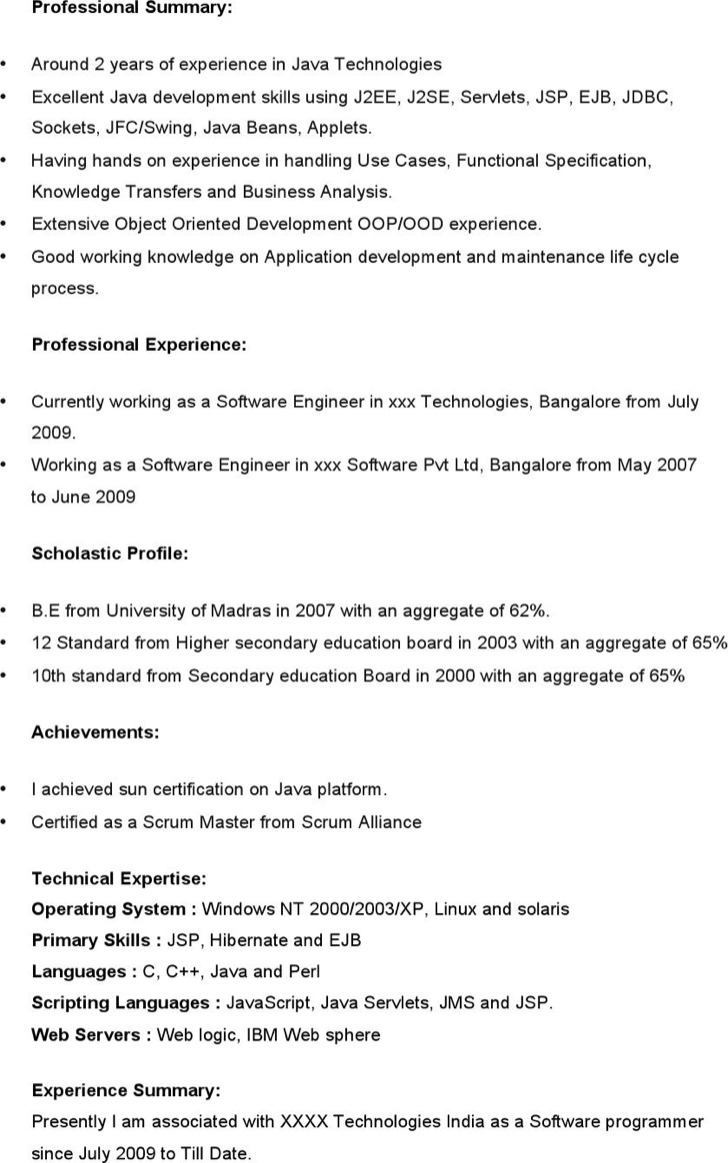 Java developer resume template download free premium for Using templates in java