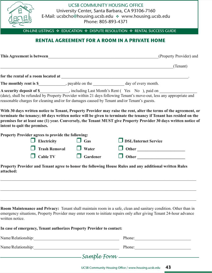 Simple Room Rental Agreement In Private Home