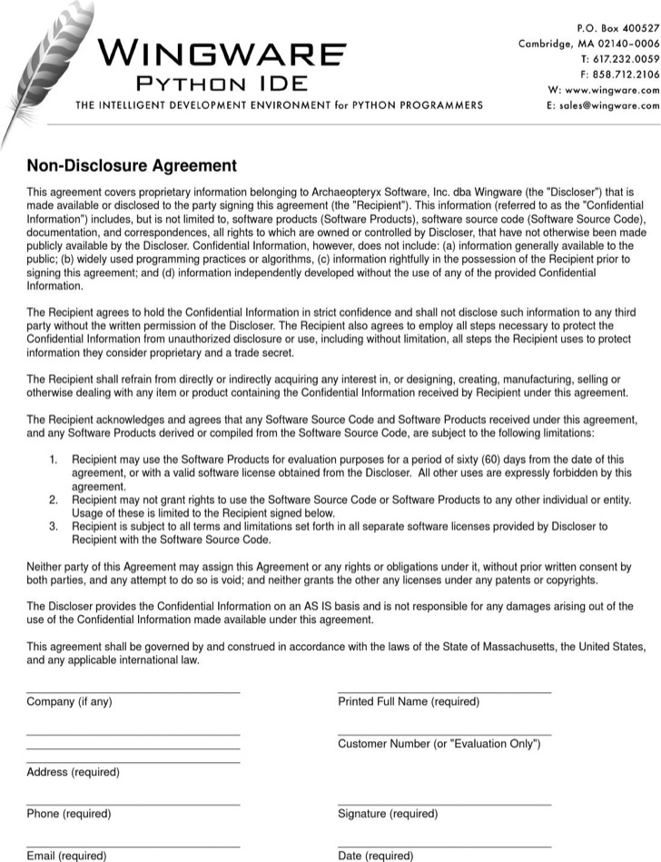 Simple Software Products Non Disclosure Agreement
