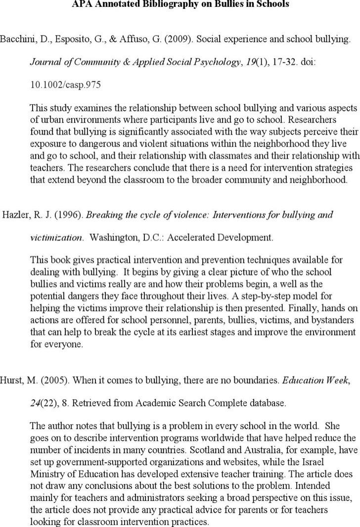 Simple Teaching Apa Annotated Bibliography Template